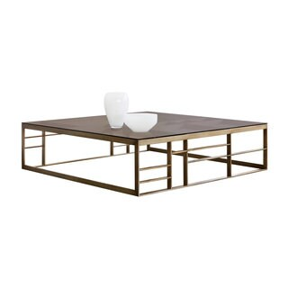 Sunpan Joanna Antique Brass and Brown Glass Square Coffee Table