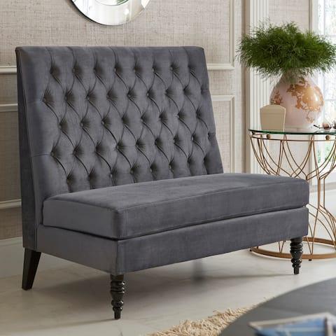Silver/Grey Velvet Tufted Upholstered Banquette Bench - 49 x 29 x 41