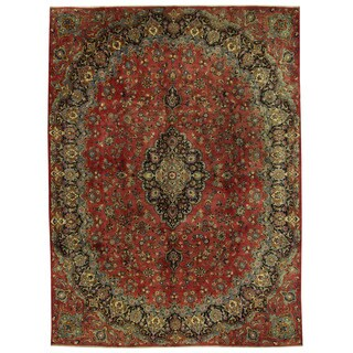 Herat Oriental Persian Hand-knotted Mashad Wool Rug (9'4 x 12'8)