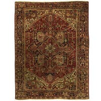 Herat Oriental Persian Hand-knotted 1940s Semi-antique Heriz Wool Rug (8'1 x 10'10)