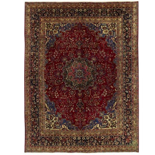 Herat Oriental Persian Hand-knotted Mashad Wool Rug (9'5 x 12'8)