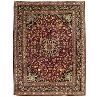 Herat Oriental Persian Hand-knotted Mashad Wool Rug (9'9 x 12'9)