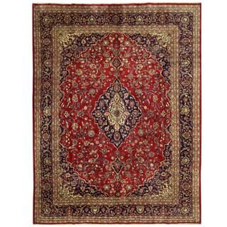 Herat Oriental Persian Hand-knotted Mashad Wool Rug (9'8 x 12'8)