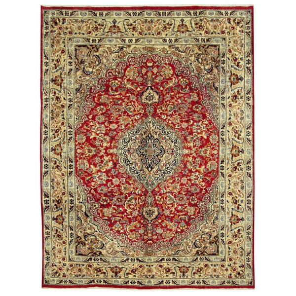 Hand Knotted Persian Isfahan Wool Area Rug: Herat Oriental Persian Hand-knotted Isfahan Wool Rug (9'7