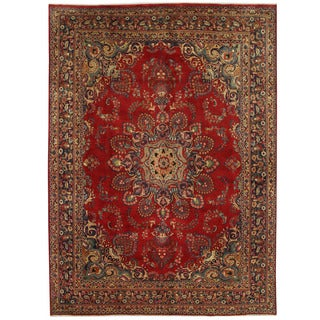 Herat Oriental Persian Hand-knotted Mashad Wool Rug (9'5 x 12'10)