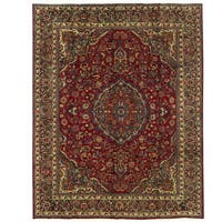 Herat Oriental Persian Hand-knotted Mashad Wool Rug (9'10 x 12'4)