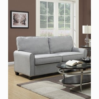 Grey Linen Fabric Rolled Arm Upholstered  Sofa