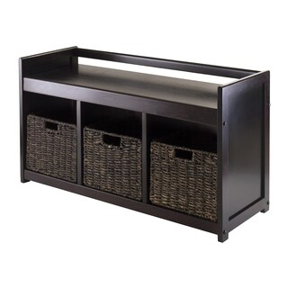 Addison Dark Espresso Wood and Corn Husk Storage Bench