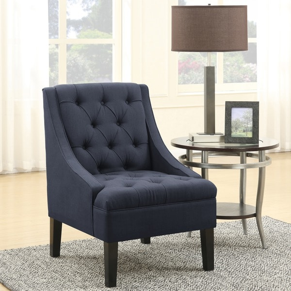 Shop Skyline Grey Linen Button Accented Swoop Chair: Shop Grey Linen Fabric Diamond Button Tufted Accent Chair