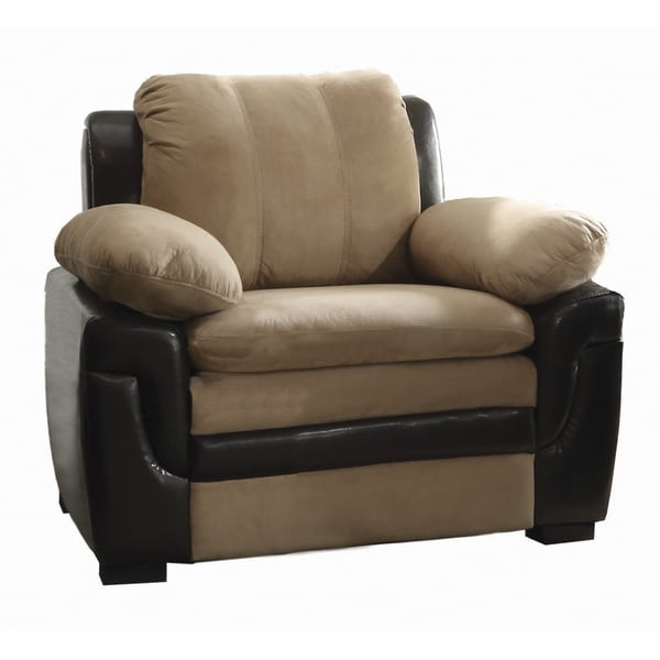 LYKE Home Two Tone Faux Leather Microfiber Extra Plush Chair