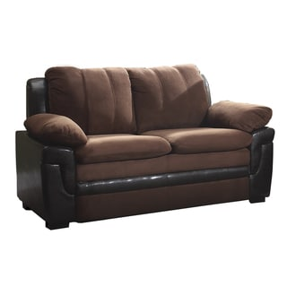 LYKE Home Beige and Brown Faux Leather and Microfiber Loveseat
