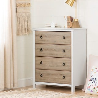 South Shore Catimini 4-Drawer Chest, Pure White and Rustic Oak