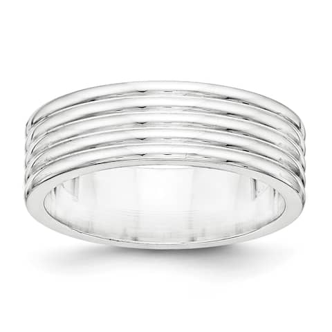 Versil Sterling Silver 7mm Polished Fancy Band - White