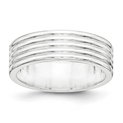 Sterling Silver 7mm Polished Fancy Band - White by Versil