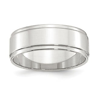 Sterling Silver 7mm Flat With Step Edge Band
