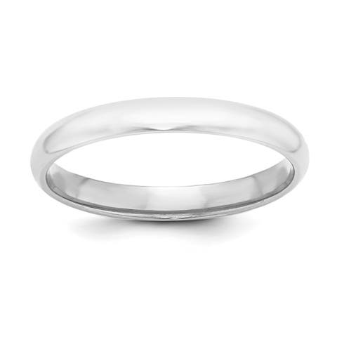 Versil Sterling Silver 3mm Half-Round Band - White