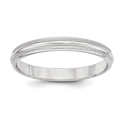 Versil Sterling Silver 3mm Half Round Milgrain Band - White