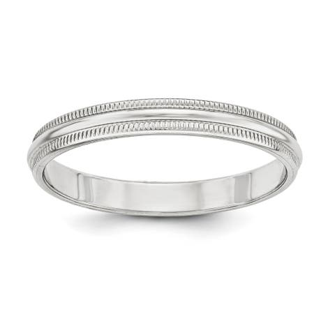 Sterling Silver 3mm Half Round Milgrain Band - White by Versil