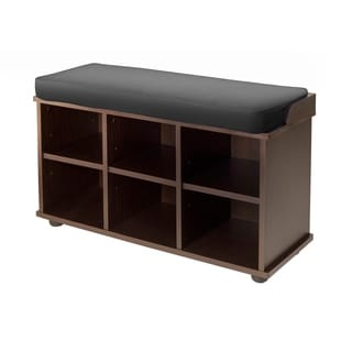 Townsend Black Wood Cushioned Storage Bench