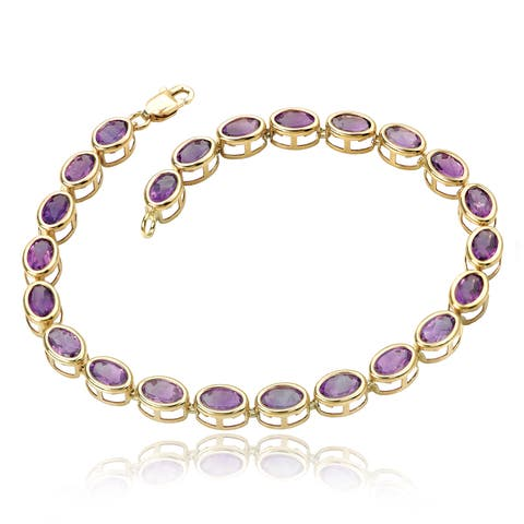 Avanti 14K Yellow Gold Oval Amethyst Bezel Set Tennis Bracelet