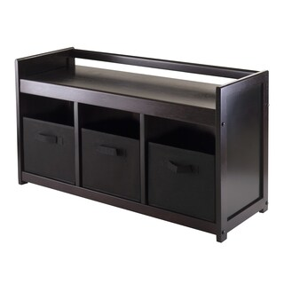 Addison 4pc Storage Bench with 3 Foldable Fabric baskets in Black