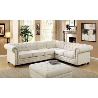 Furniture of America Sylvana Traditional 2-piece Tufted Linen-like Fabric Sectional and Chair Set