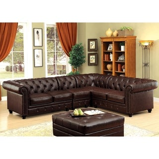 Furniture of America Sylvana Traditional 2-piece Tufted Brown Leatherette Sectional and Chair Set