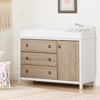 South Shore Catimini Pure White and Rustic Oak Changing Table with Removable Changing Station