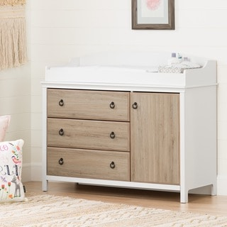 Ordinaire South Shore Catimini Changing Table With Removable Changing Station, Pure  White And Rustic Oak