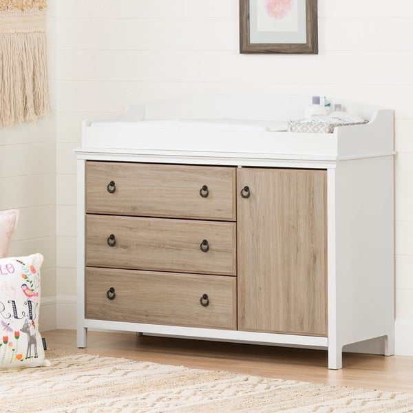 South Shore Catimini Changing Table with Removable Changing Station, Pure White and Rustic Oak. Opens flyout.