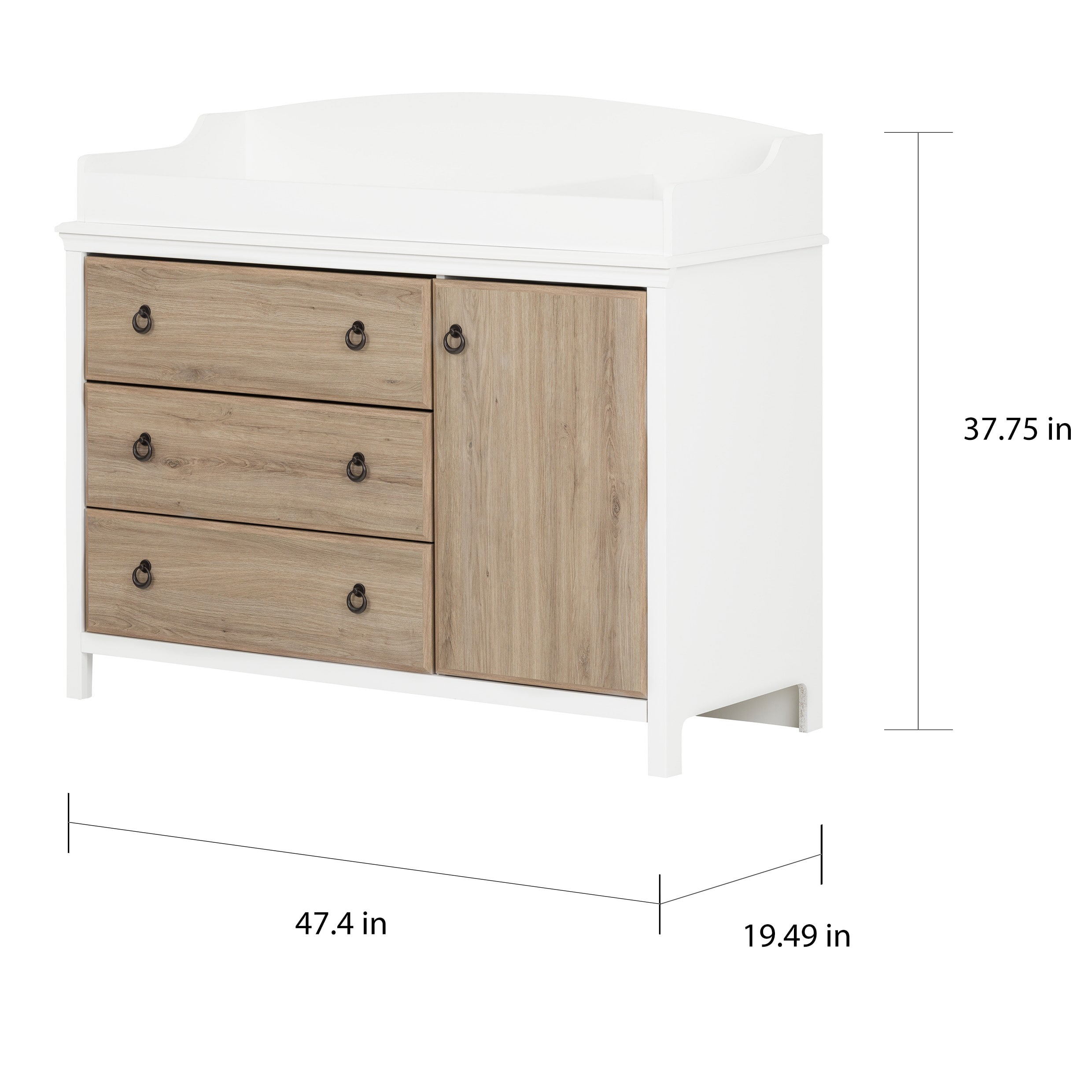best service 0ce54 43fa9 South Shore Catimini Changing Table with Removable Changing Station, Pure  White and Rustic Oak