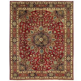 Herat Oriental Persian Hand-knotted Mashad Wool Rug (9'11 x 12'3)