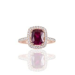 Suzy Levian Rose Sterling Silver Elongated Cushion Cut Created Ruby Engagement Ring - Red