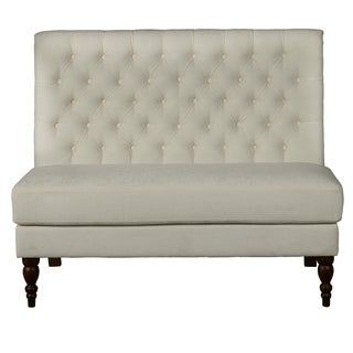 Aria Porcelain Button Tufted Upholstered Armless Settee
