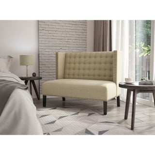 Sateen Hemp Upholstered Shelter-back Settee