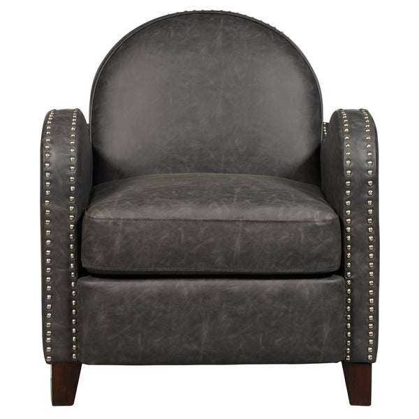 Shop Charcoal Faux Leather Curved Arm Accent Chair Free