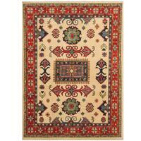 Herat Oriental Afghan Hand-knotted Tribal Kazak Wool Rug (4'10 x 6'7)