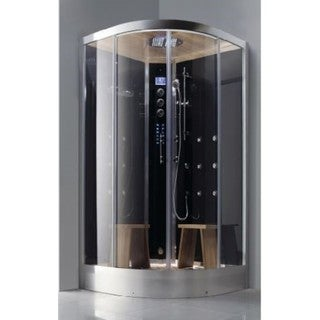 Athena Luxury 2-person Walk-in Steam Shower with Black Tempered Glass, 4.5Kw Steam Generator and Deluxe Rainfall Shower Head