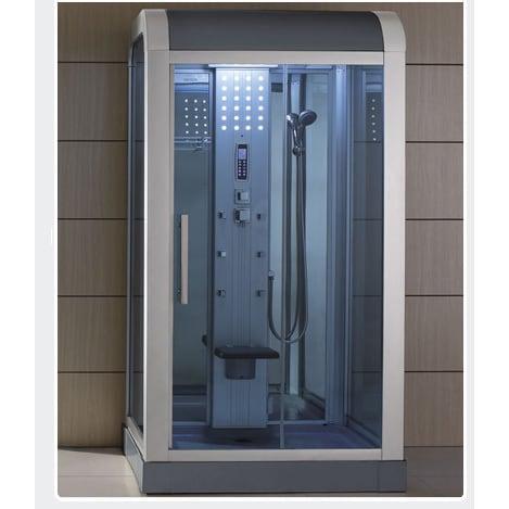 Mesa 500L Steam Shower (Walk In Steam Shower), Grey chrome