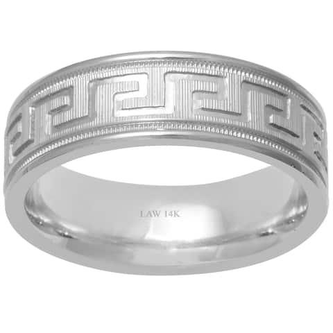 14k White Gold Greek Key Design Comfort Fit Men's Wedding Bands