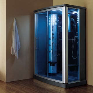 Luxury 2-person Steam Shower with Sliding Glass Doors and Blue Tempered Glass