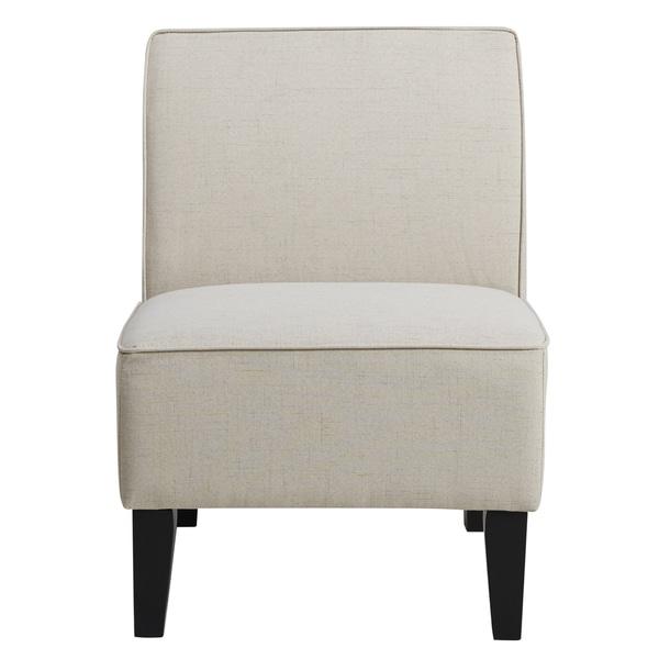 Charmant Cream Upholstered Armless Slipper Chair