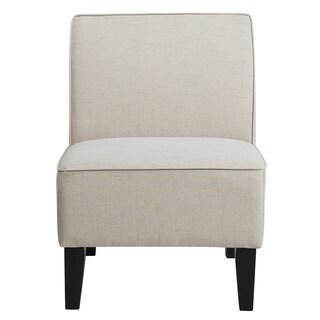 Cream Upholstered Armless Slipper Chair