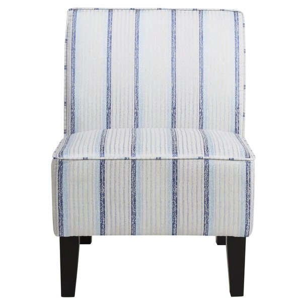 Merveilleux Blue Striped Armless Slipper Chair
