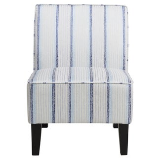 Blue Striped Armless Slipper Chair
