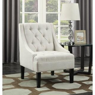 Avanti Powder Fabric Scoop Arm Button-tufted Accent Chair