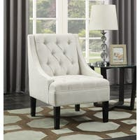 Avanti Powder Fabric Scoop Arm Button-tufted Accent Chair
