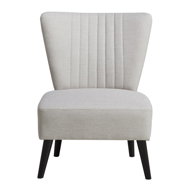 Shop Cream Channeled Back Armless Accent Chair Free