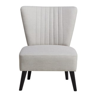 Cream Channeled Back Armless Accent Chair