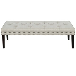 White Linen Diamond-tufted Upholstered Bench